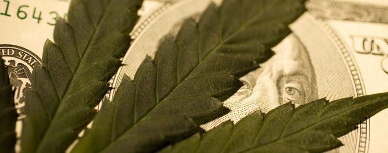 Marijuana leaf on US currency